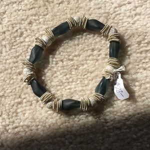 NWT Teal Murano Glass and Silver Stretch Bracelet